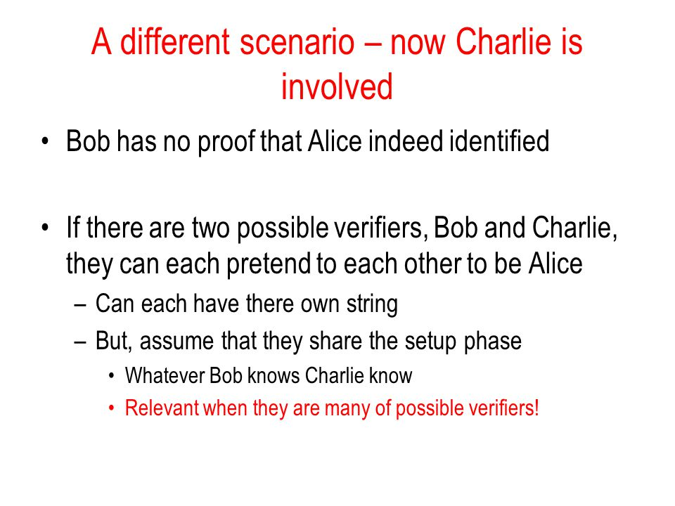 A different scenario – now Charlie is involved