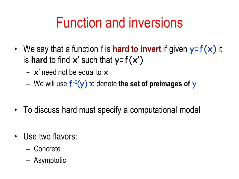Function and inversions