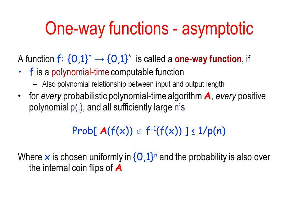 One-way functions - asymptotic