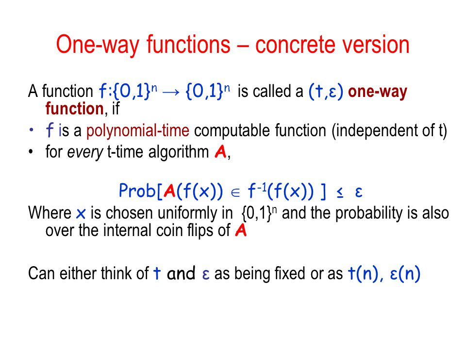One-way functions – concrete version
