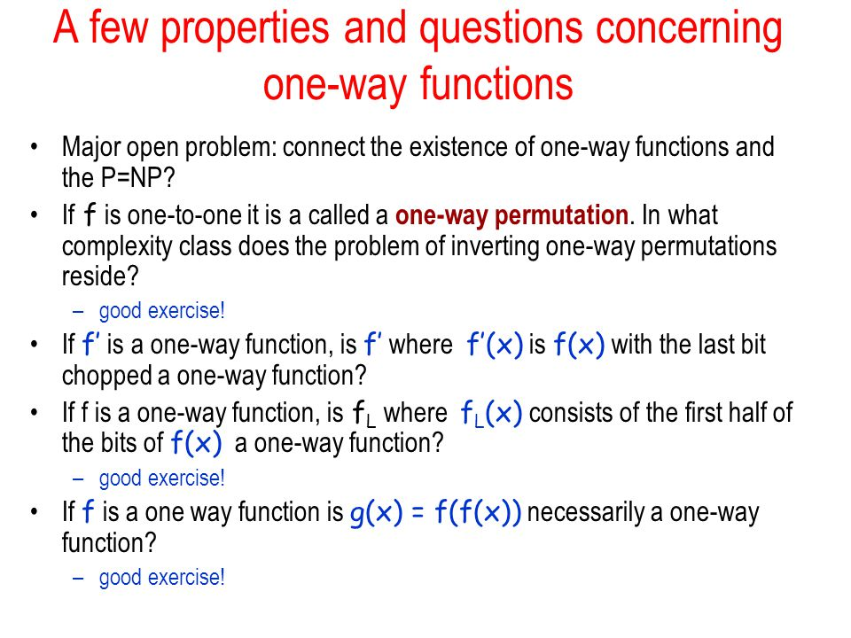 A few properties and questions concerning one-way functions