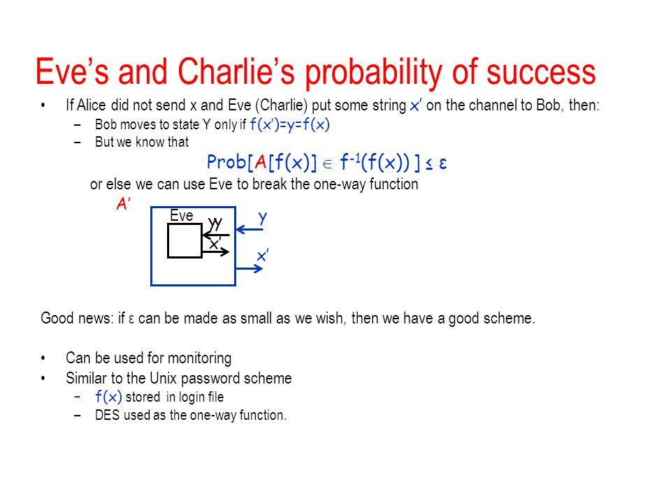 Eve's and Charlie's probability of success