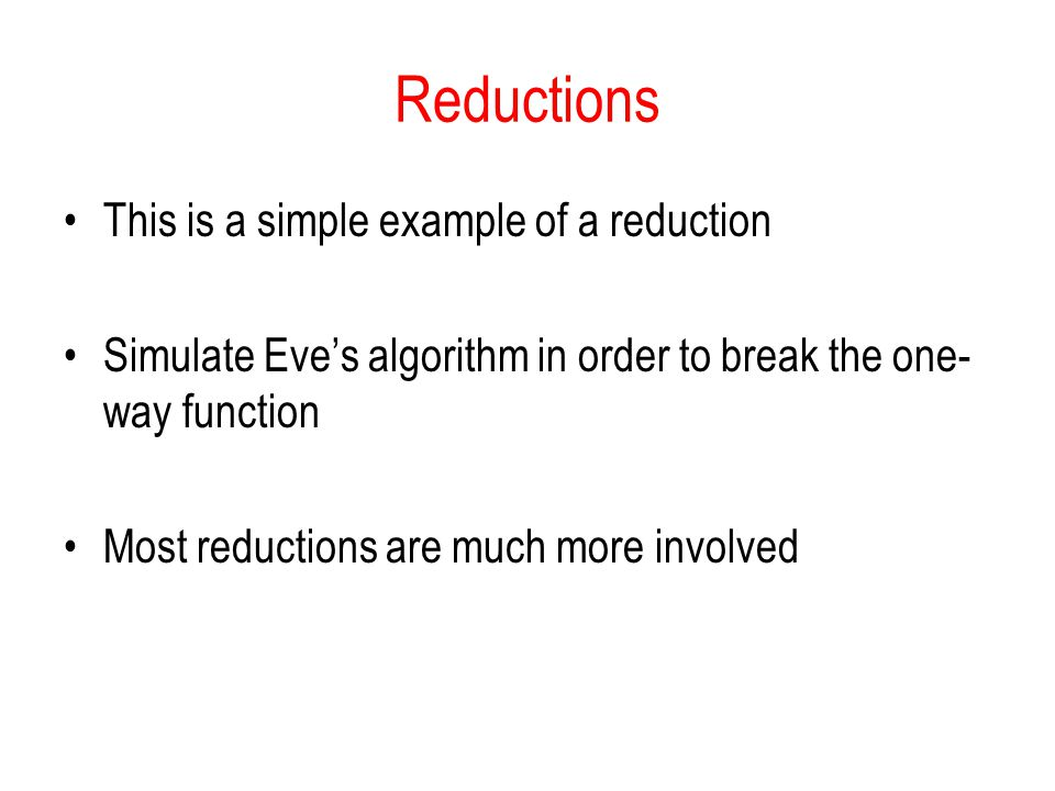 Reductions This is a simple example of a reduction