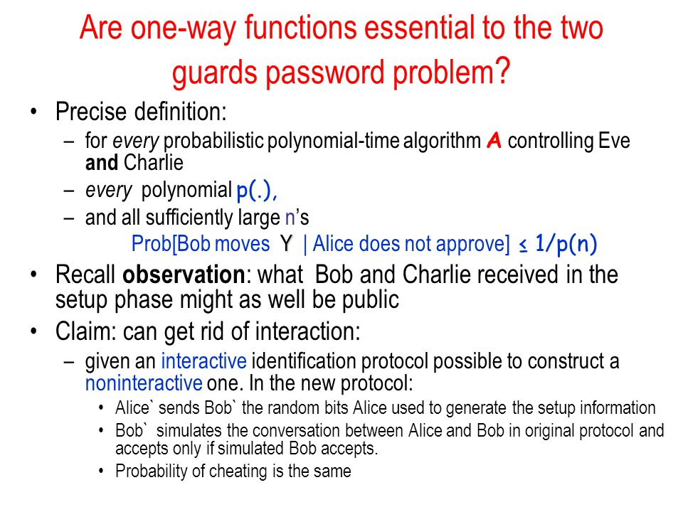 Are one-way functions essential to the two guards password problem