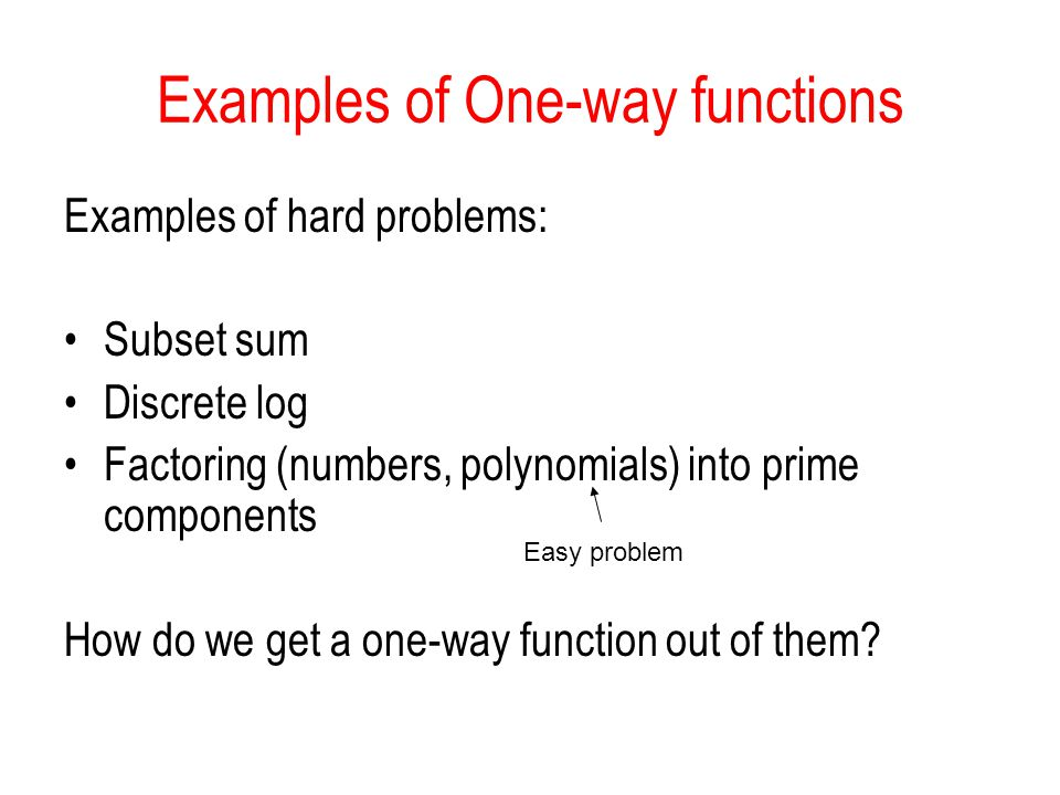 Examples of One-way functions