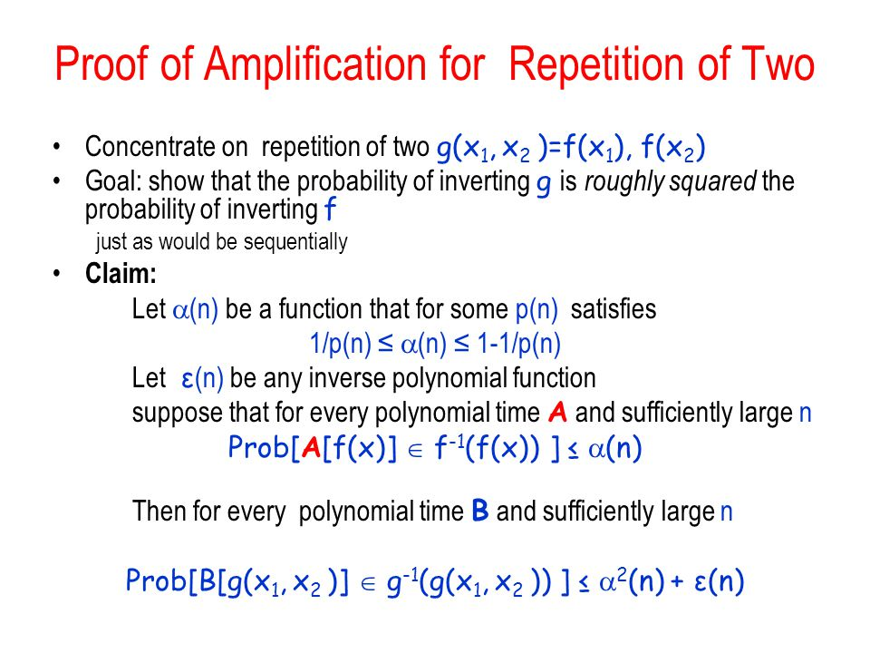 Proof of Amplification for Repetition of Two