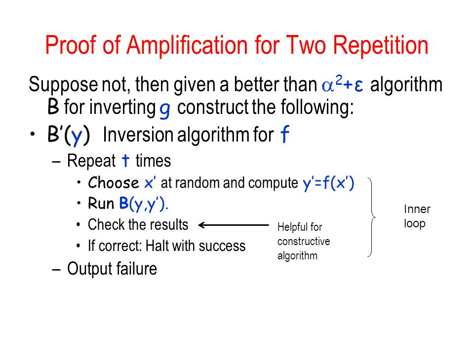 Proof of Amplification for Two Repetition