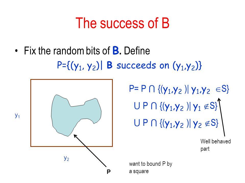P={(y1, y2)| B succeeds on (y1,y2)}