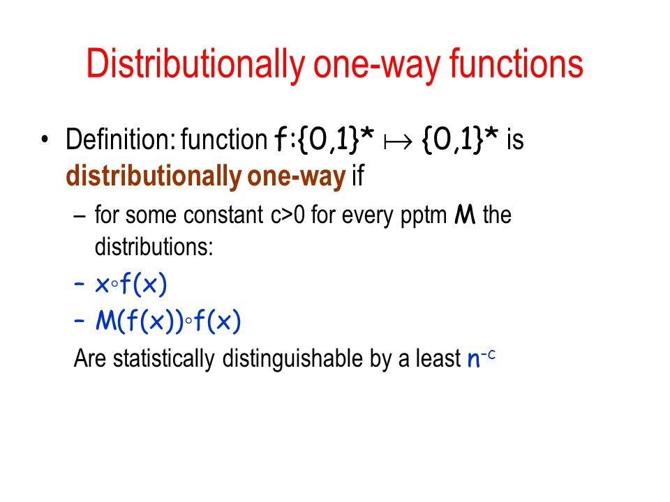 Distributionally one-way functions