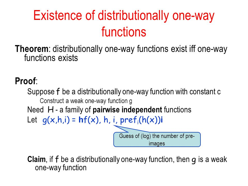 Existence of distributionally one-way functions