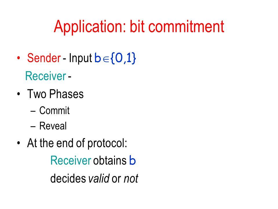 Application: bit commitment