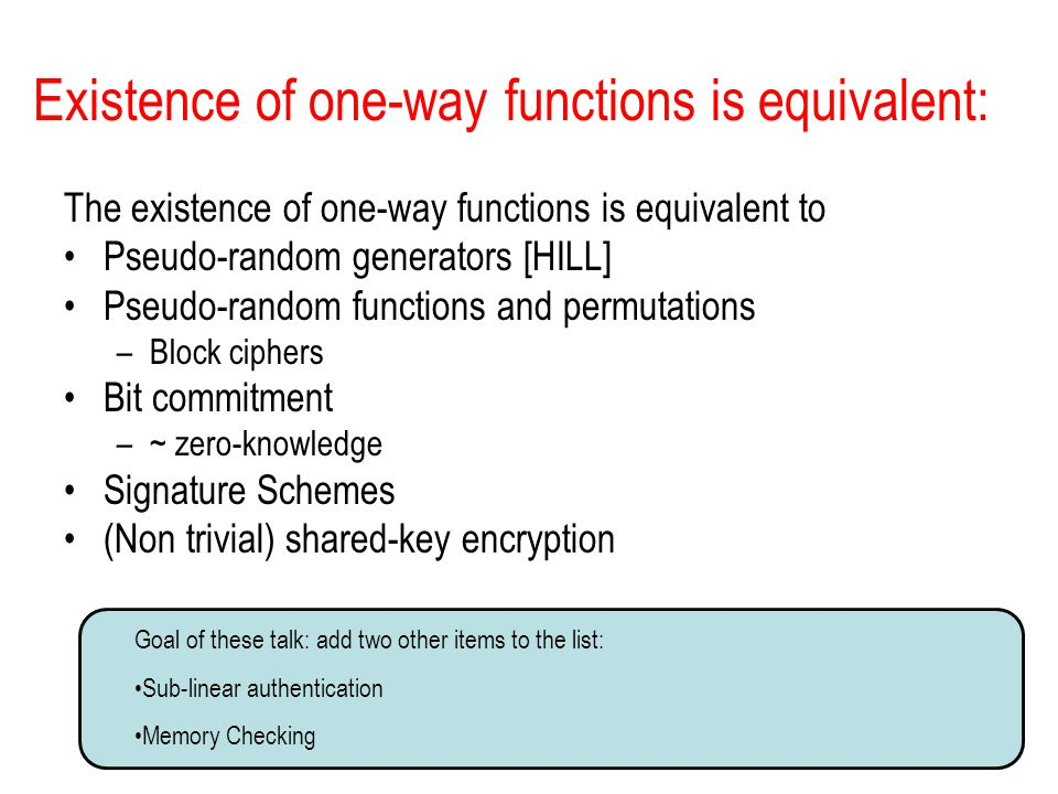 Existence of one-way functions is equivalent: