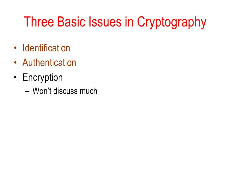 Three Basic Issues in Cryptography