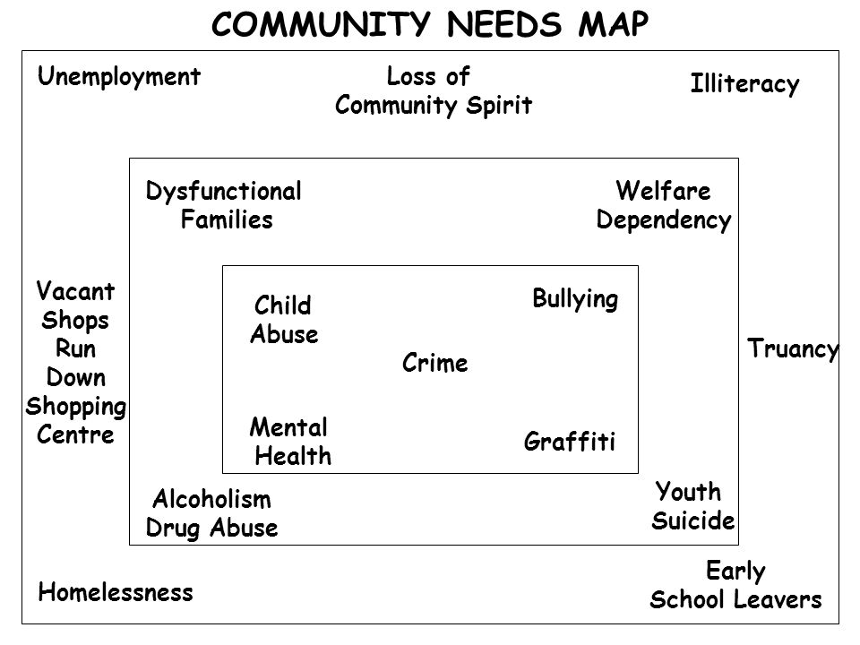 COMMUNITY NEEDS MAP Unemployment Loss of Community Spirit Illiteracy