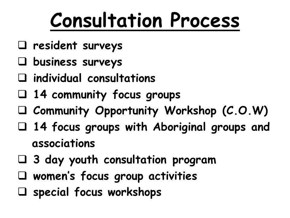Consultation Process resident surveys business surveys