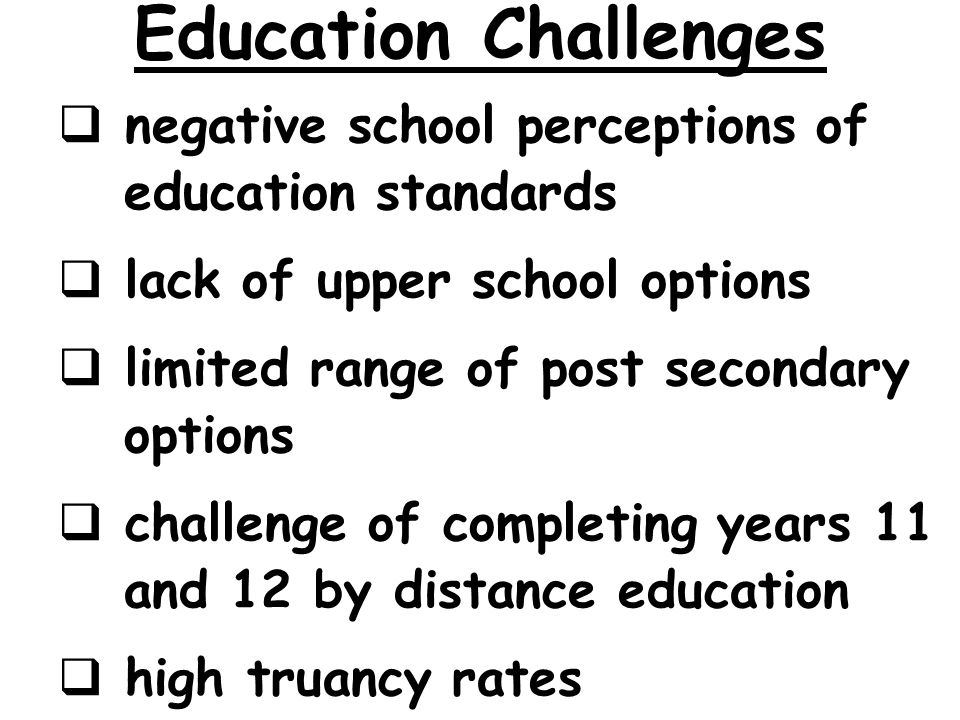 Education Challenges negative school perceptions of