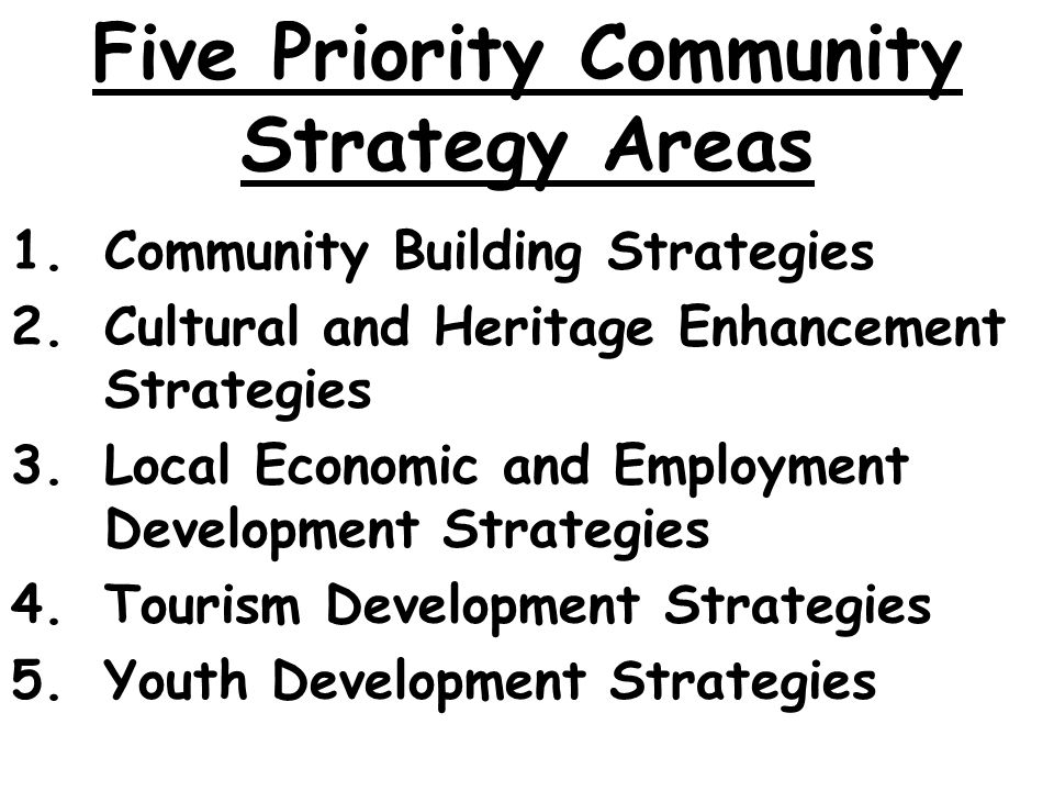 Five Priority Community Strategy Areas