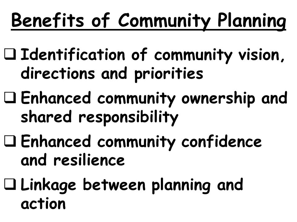 Benefits of Community Planning