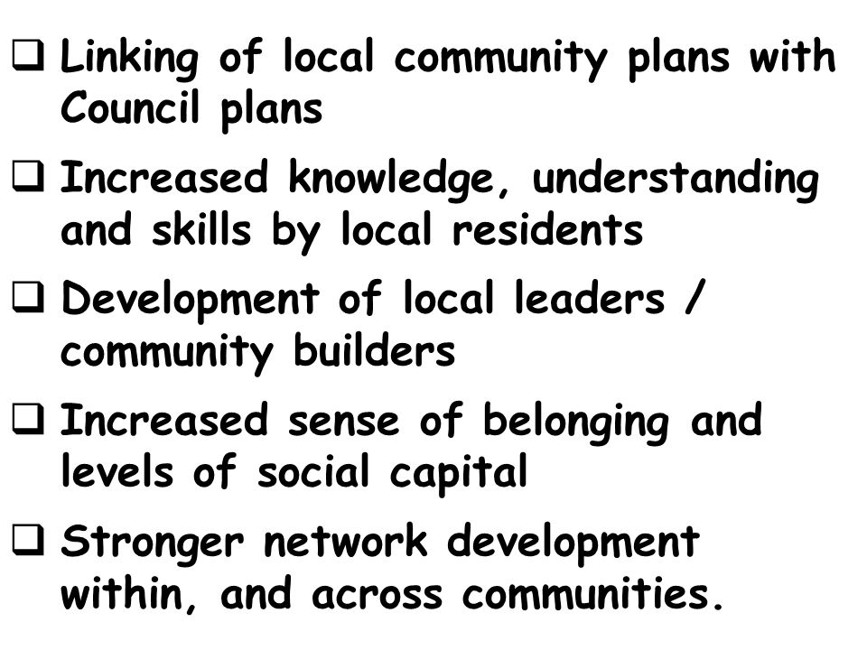 Linking of local community plans with Council plans
