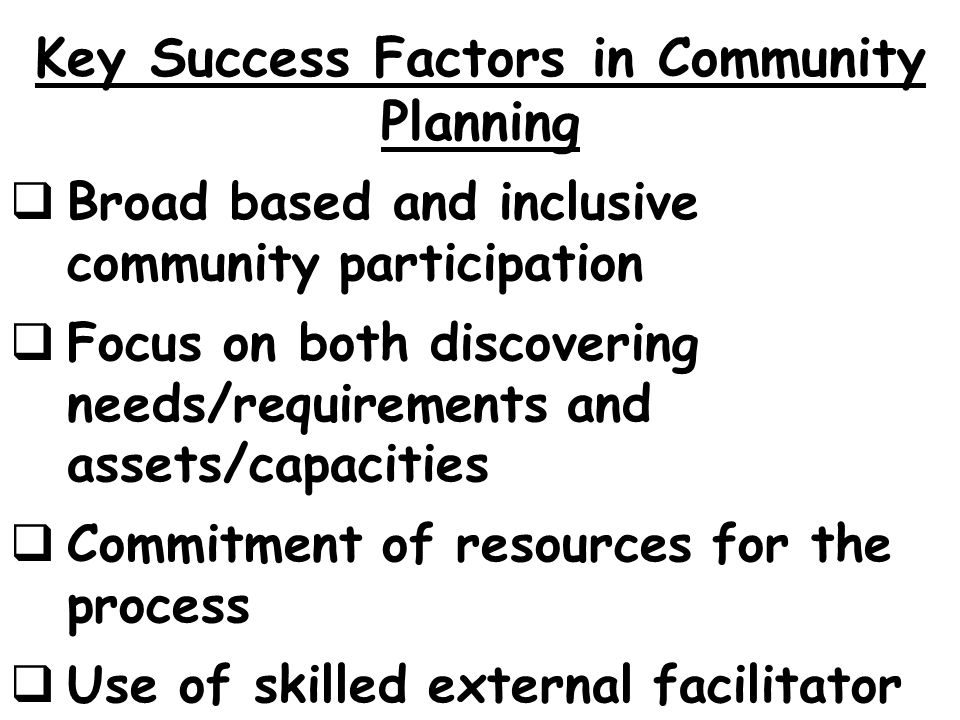 Key Success Factors in Community Planning