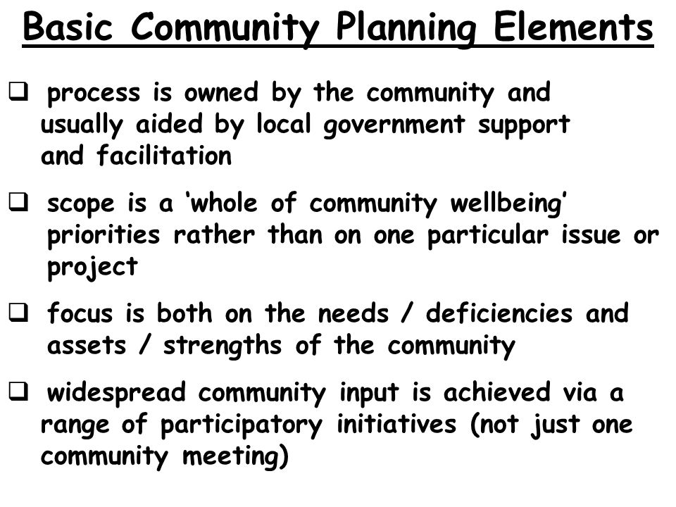 Basic Community Planning Elements