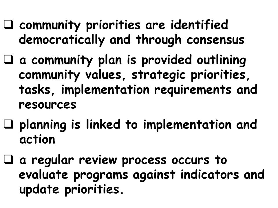 community priorities are identified