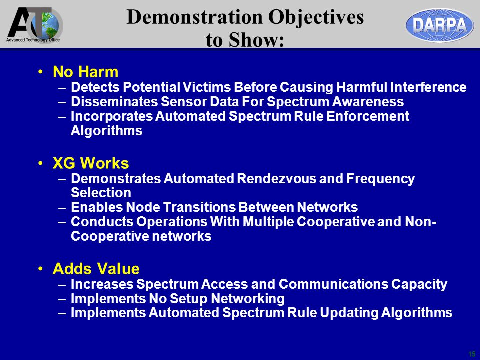 Demonstration Objectives to Show: