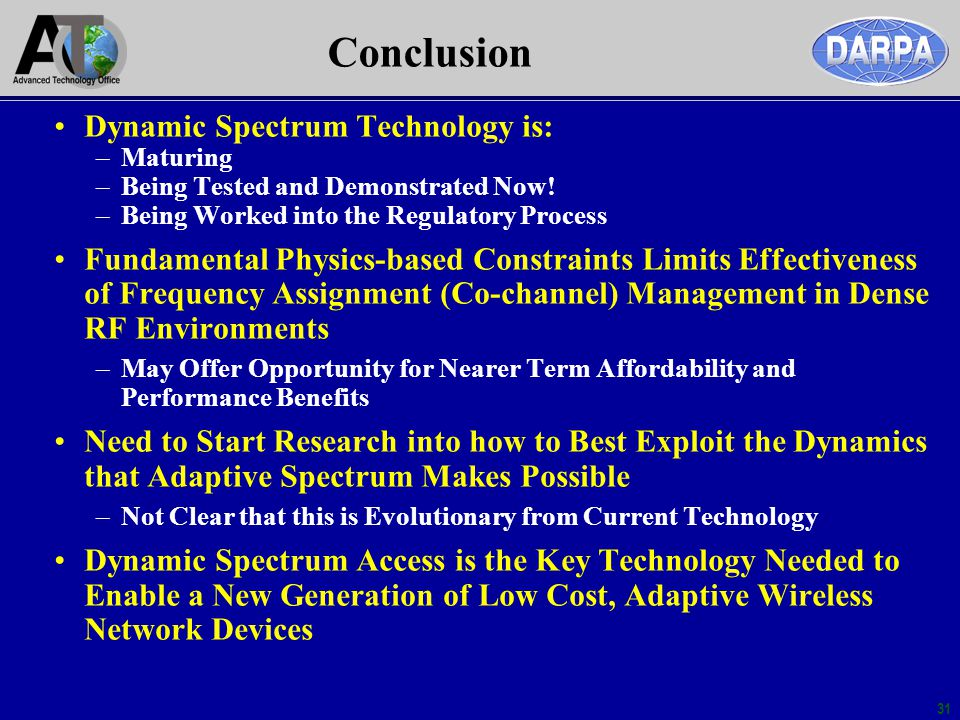 Conclusion Dynamic Spectrum Technology is: