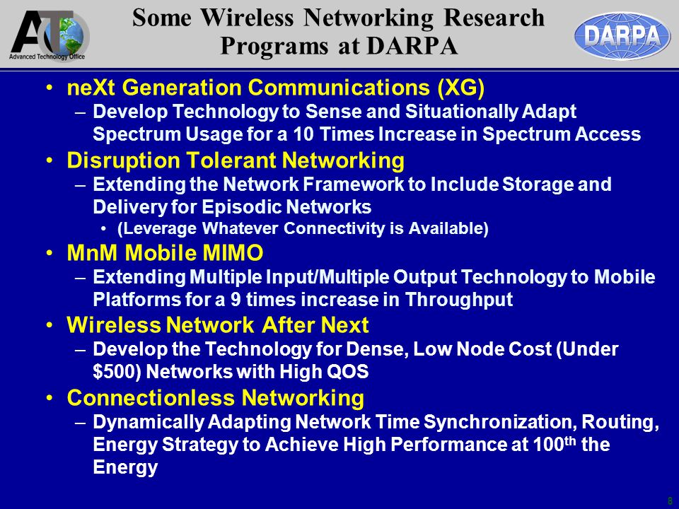 Some Wireless Networking Research Programs at DARPA