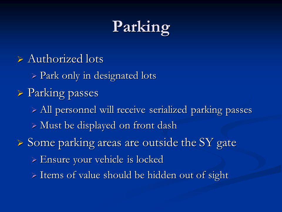 Parking Authorized lots Parking passes