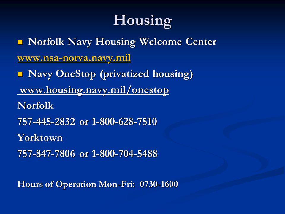 Housing Norfolk Navy Housing Welcome Center www.nsa-norva.navy.mil