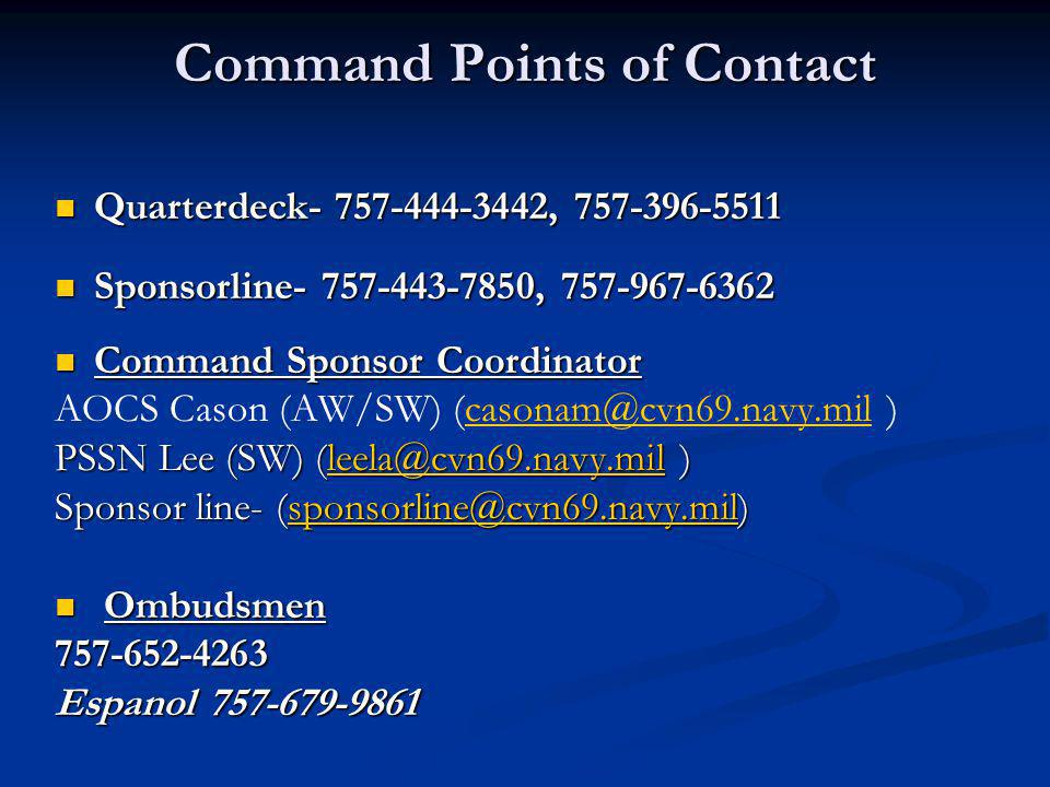 Command Points of Contact