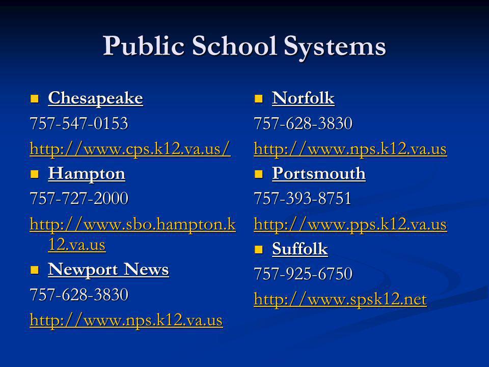 Public School Systems Chesapeake 757-547-0153