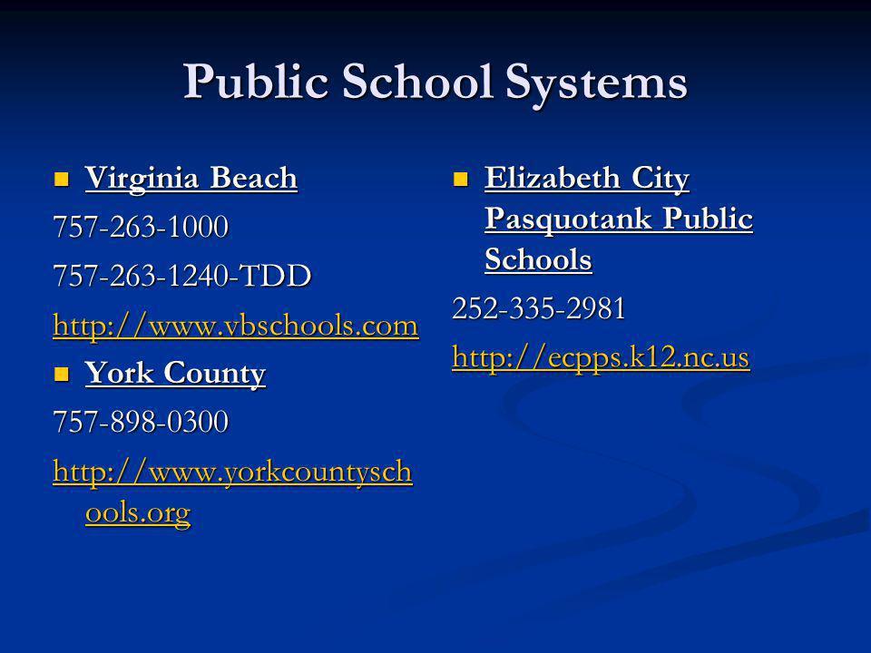 Public School Systems Virginia Beach 757-263-1000 757-263-1240-TDD