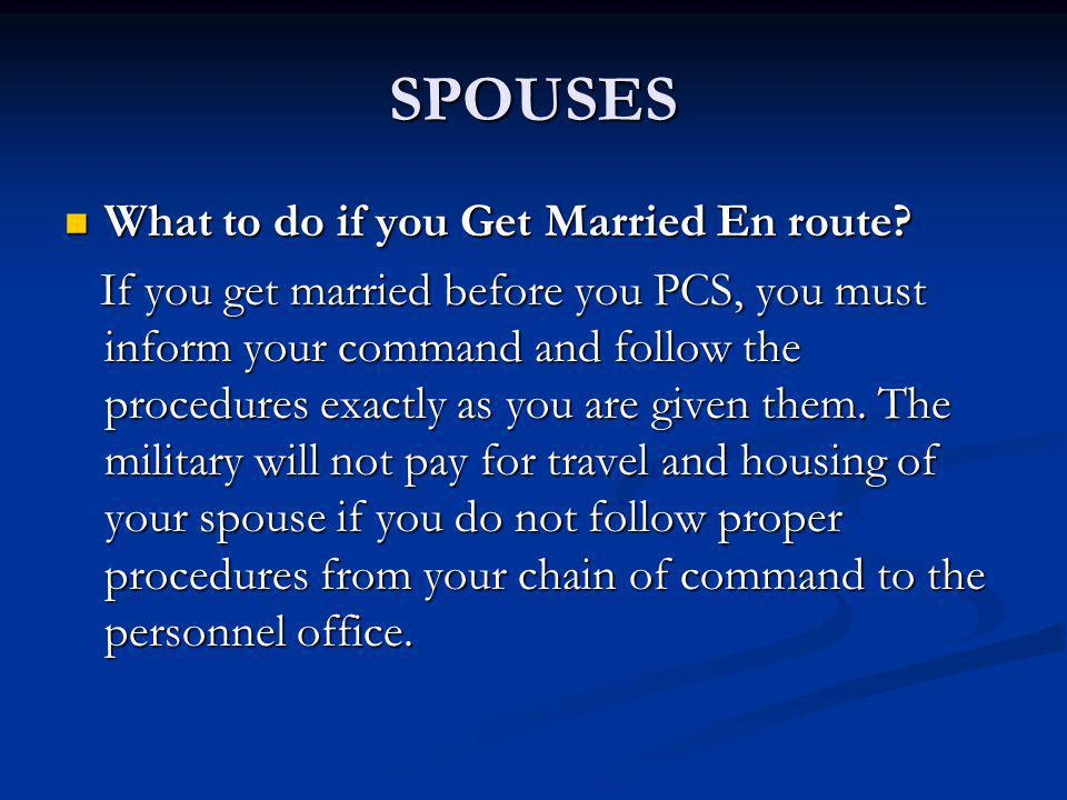 SPOUSES What to do if you Get Married En route