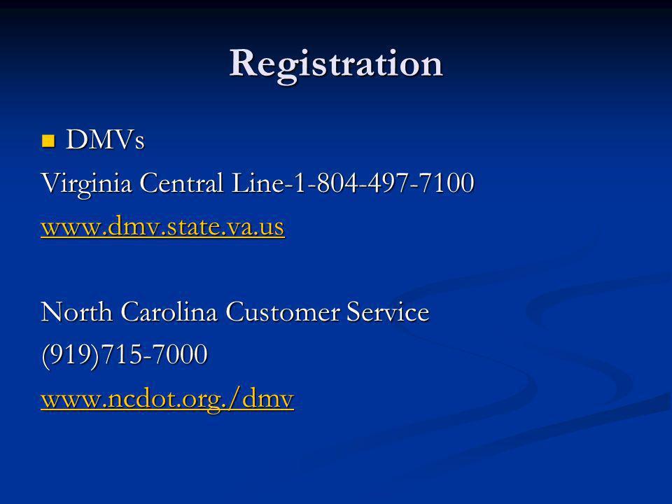 Registration DMVs Virginia Central Line-1-804-497-7100