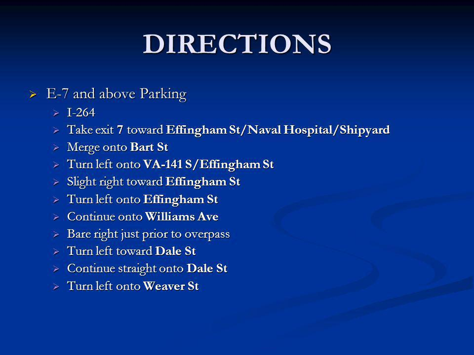 DIRECTIONS E-7 and above Parking I-264