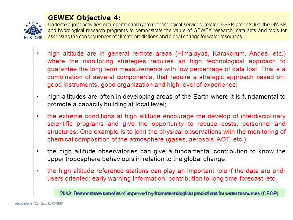 GEWEX Objective 4: