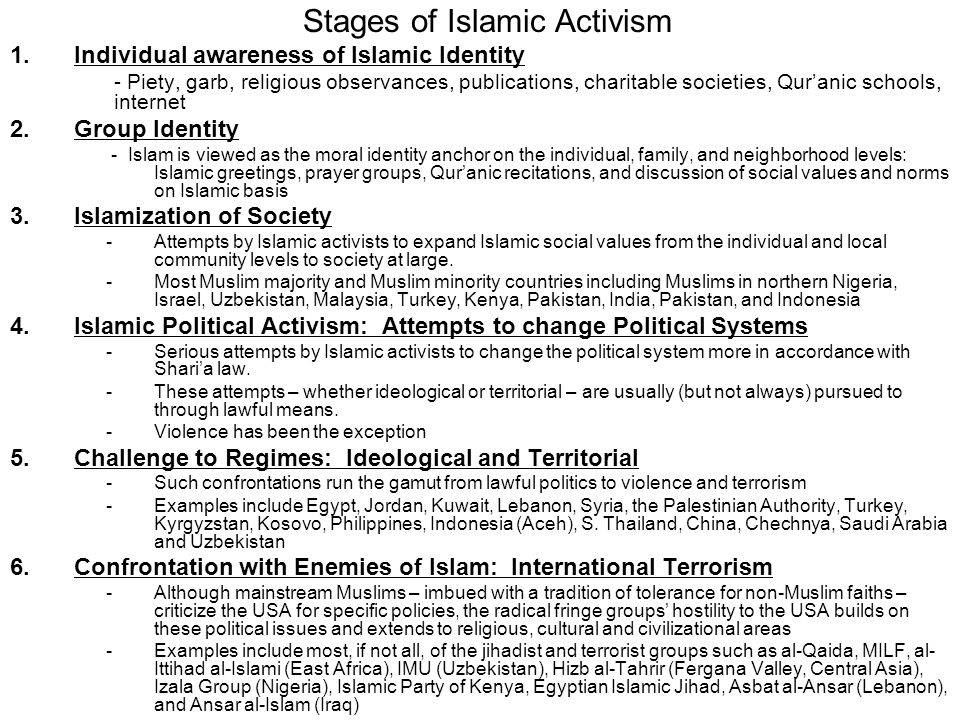 Stages of Islamic Activism