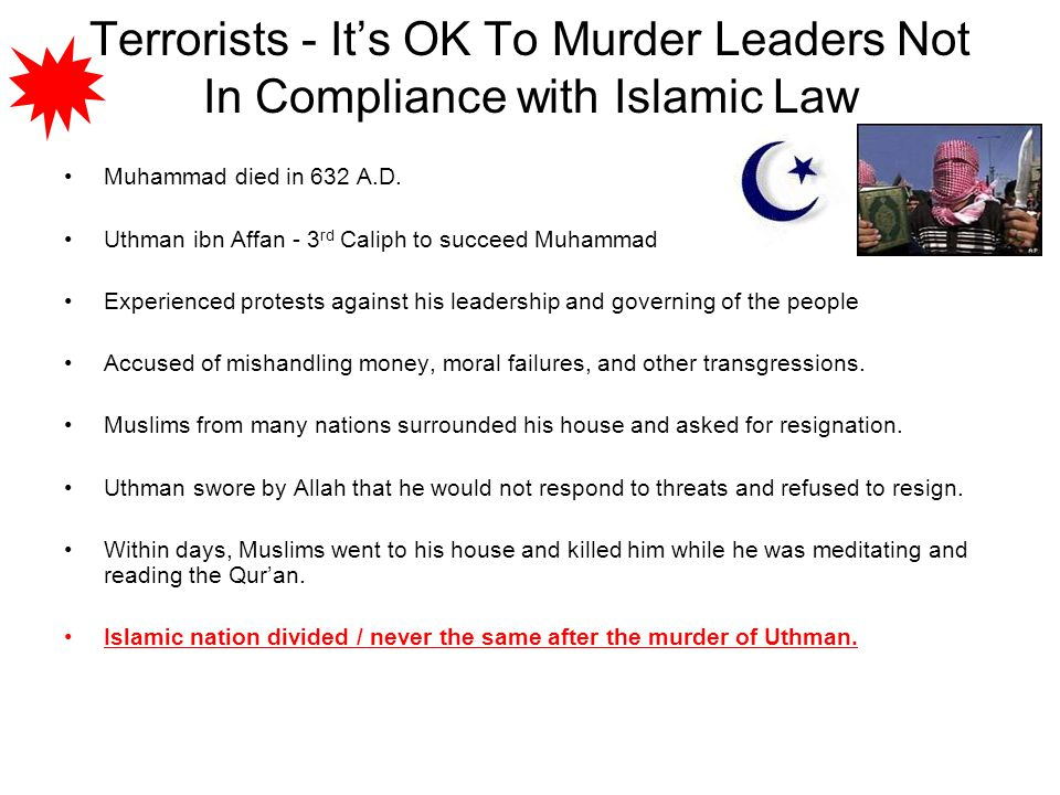 Terrorists - It's OK To Murder Leaders Not In Compliance with Islamic Law