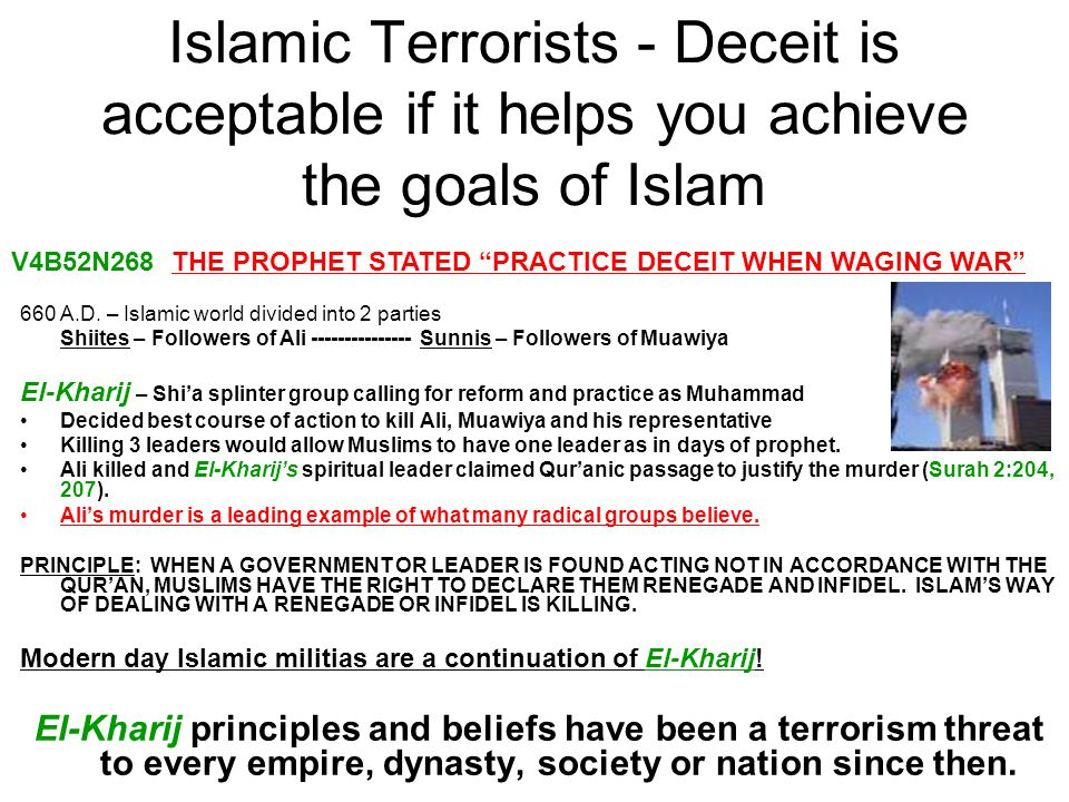 Islamic Terrorists - Deceit is acceptable if it helps you achieve the goals of Islam