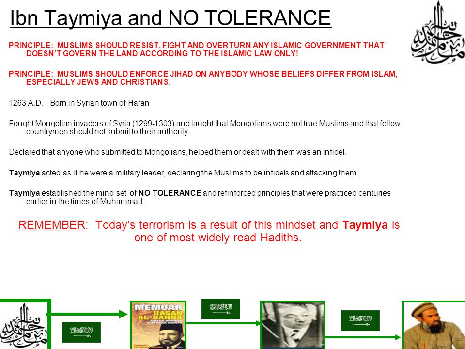 Ibn Taymiya and NO TOLERANCE