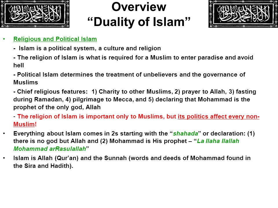 Overview Duality of Islam