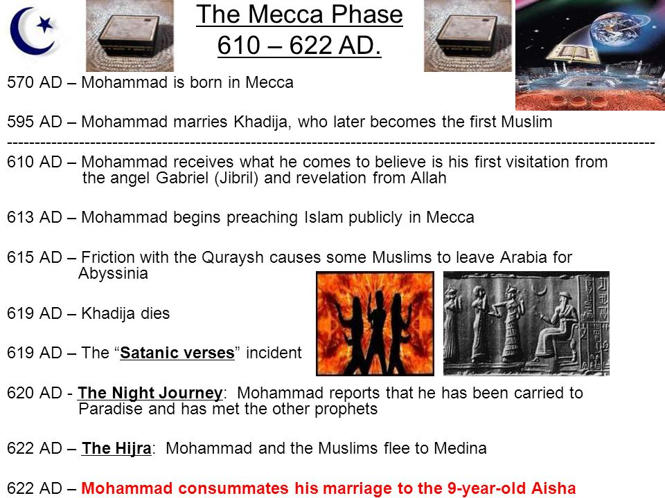 The Mecca Phase 610 – 622 AD. 570 AD – Mohammad is born in Mecca