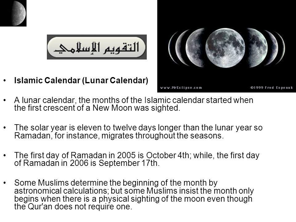 Islamic Calendar (Lunar Calendar)