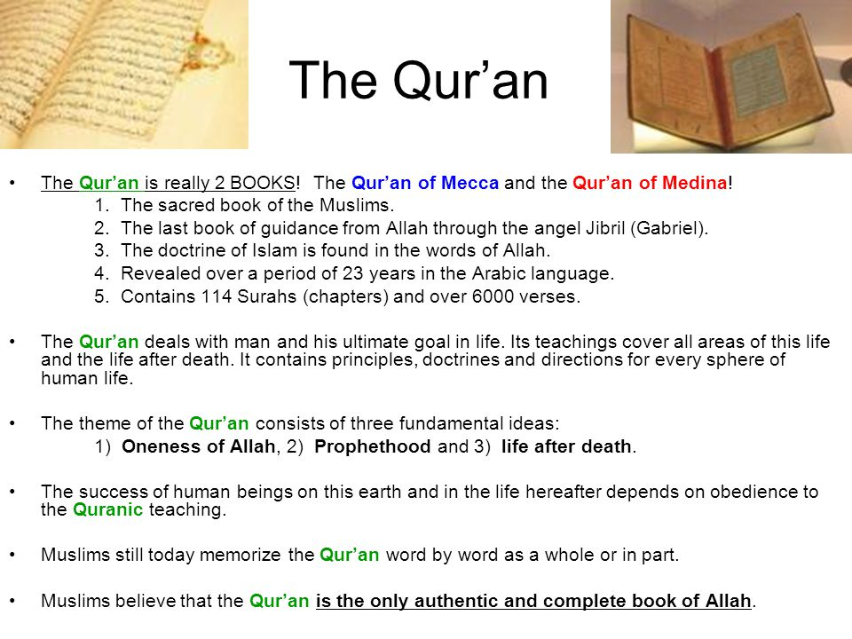 The Qur'an The Qur'an is really 2 BOOKS! The Qur'an of Mecca and the Qur'an of Medina! 1. The sacred book of the Muslims.
