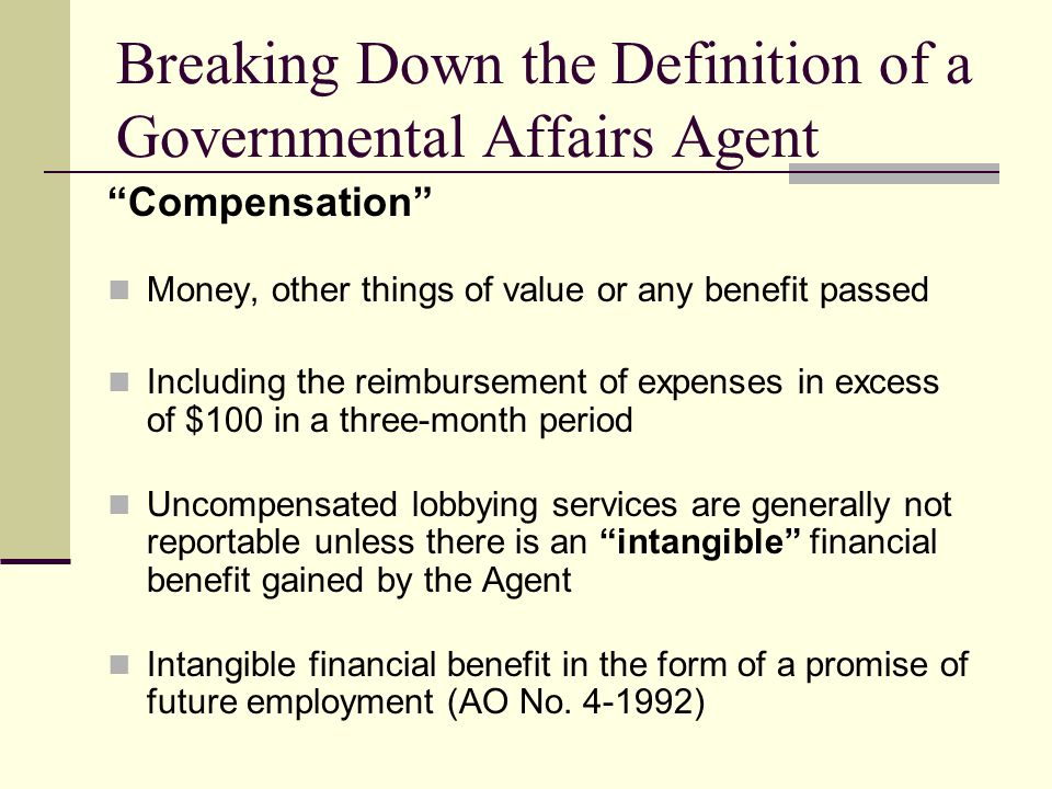 Breaking Down the Definition of a Governmental Affairs Agent