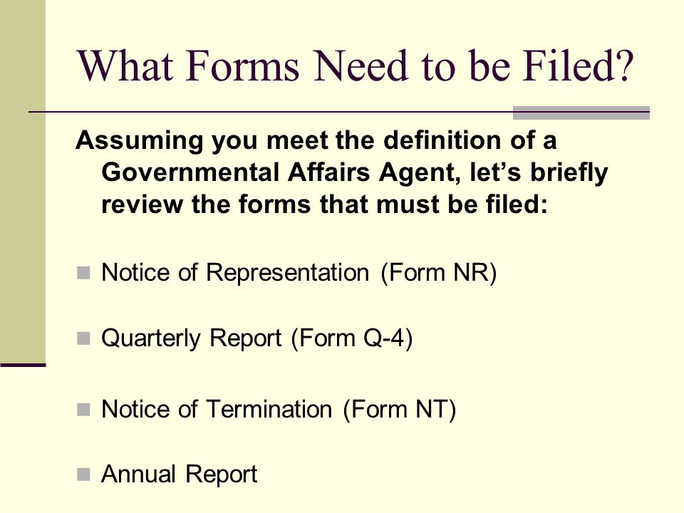 What Forms Need to be Filed