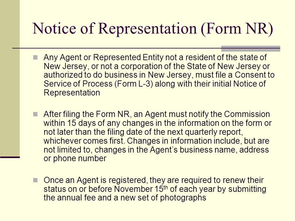 Notice of Representation (Form NR)