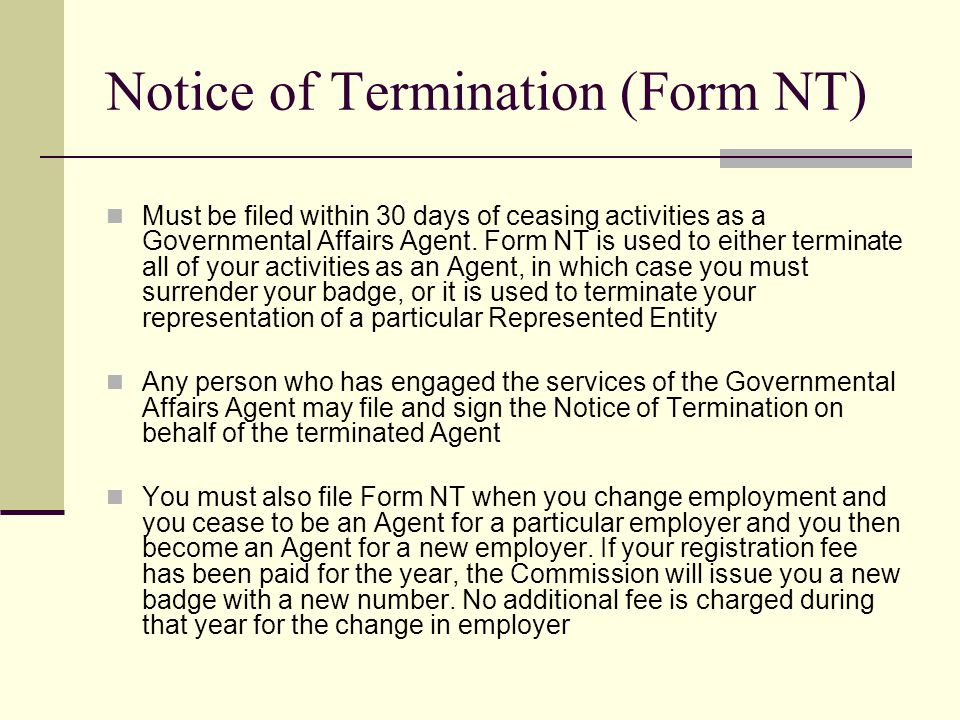 Notice of Termination (Form NT)